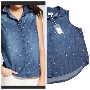 ❤️ Universal Thread Denim Chambray Star Top NWT